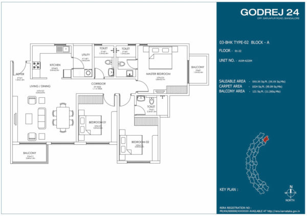 Floor Plan of 3 BHK Type 2