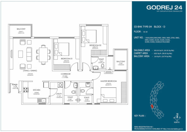 Floor Plan of 3 BHK