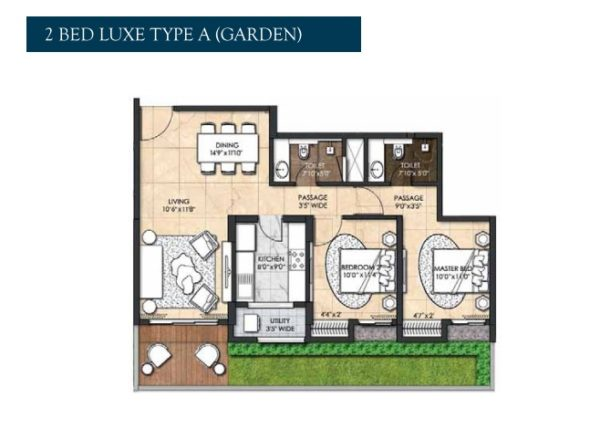 2 Bed Luxe Type A Garden