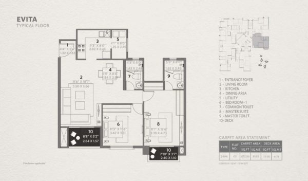 2 bhk Floor Plan-872 sqft