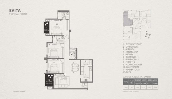 3 Bhk Typical Floor Plan 1265 Sqft