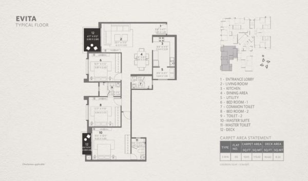 3 bhk Typical Floor Plan