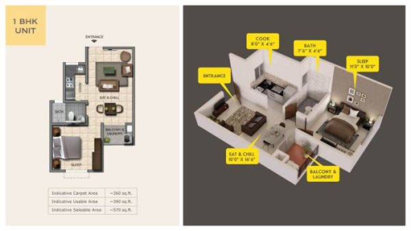 Provident Capella Floor Plan 1 BHK
