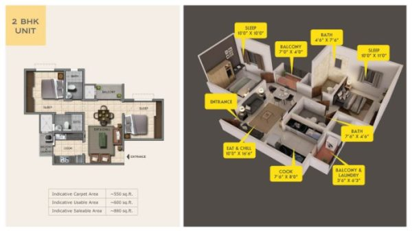 Provident Capella Floor Plan 2 BHK