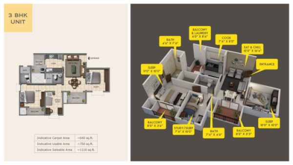Provident Capella Floor Plan 3 BHK