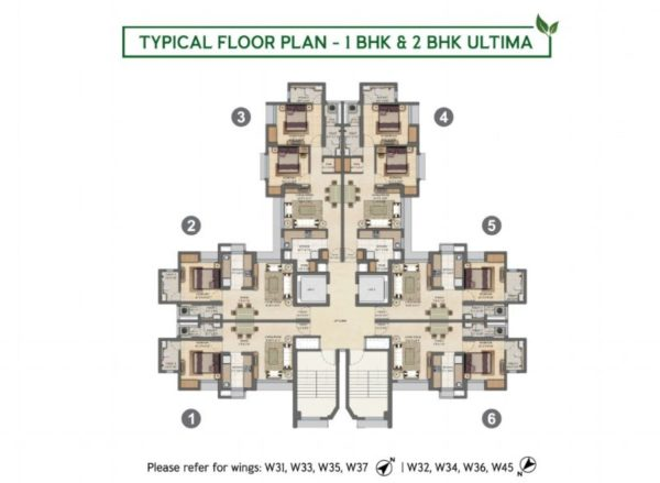Typical Floor Plan - 1 BHK & 2 BHK Ultima