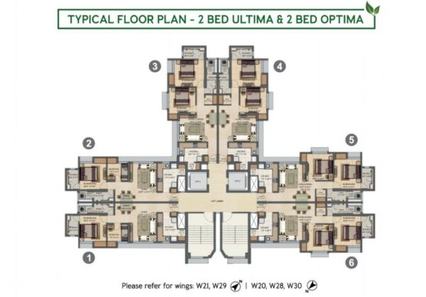 Typical Floor Plan - 2 BED Ultima & 2 BED Optima