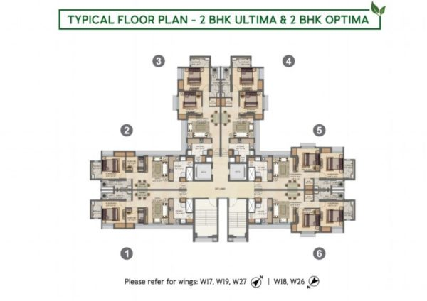 Typical Floor Plan - 2 BHK Ultima & 2 BHK Optima