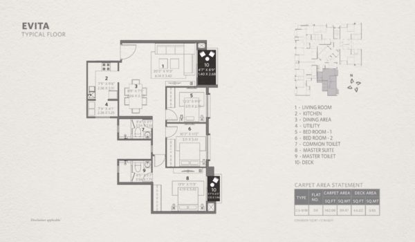 Typical Floor Plan for Hiranandani Evita 2.5 BHK 963 sqft