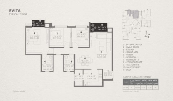 Typical Floor Plan for Hiranandani Evita 2