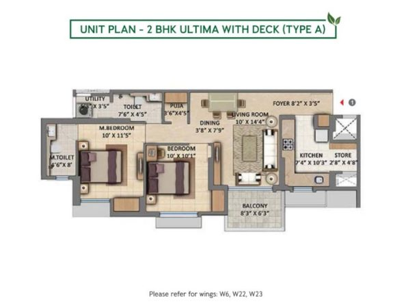Unit Plan - 2 BHK Ultima with Deck (Type A)