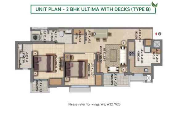 Unit Plan - 2 BHK Ultima with Deck (Type B)